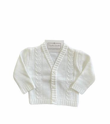 Boys Knit Cardigan - WHITE