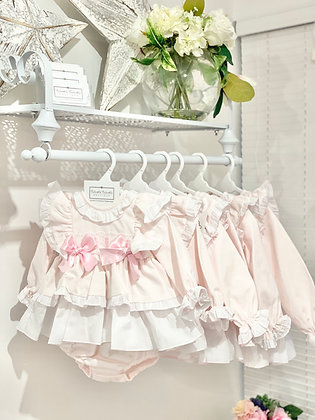Baby Girls pink & white Puffball  Dress & Pants set