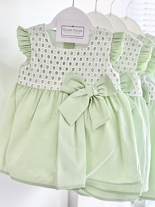 Girls Mint Dress With Bow