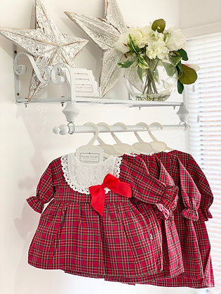 Baby Girl Red with white lace detail Tartan Dress
