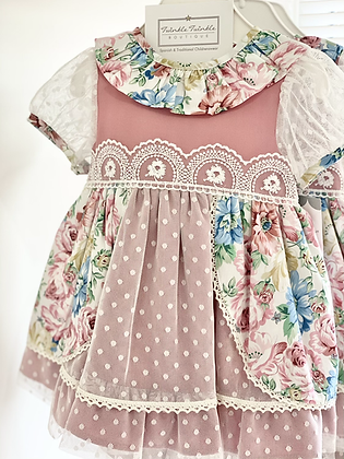 Girls Lace and  Floral Dusky Pink Dress