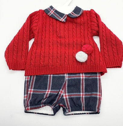 Boys Red & Navy Pom Pom jumper set