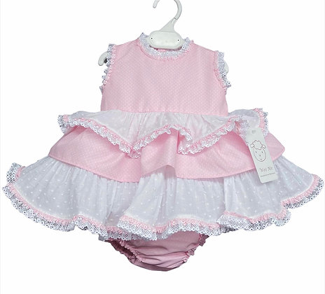 Baby Girls Polka Dot Puffball  Dress & Pants set - PINK
