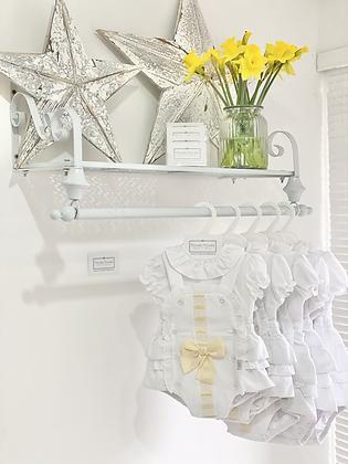 Baby Girls White & Lemon Ribbon Romper & Shirt Set