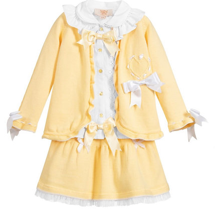 Caramelo - Girls 3 Piece Knit Skirt set - LEMON