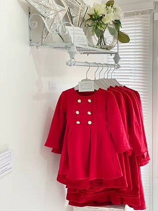 Girls silver Button Dress 1y-12y - RED