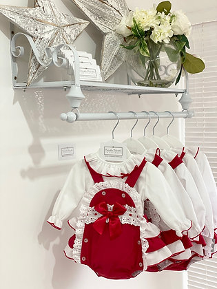 Baby Red Frill Romper and White Shirt and Bow set