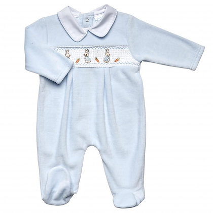 Boys Velour Peter Rabbit Embroidered Sleepsuit - Blue