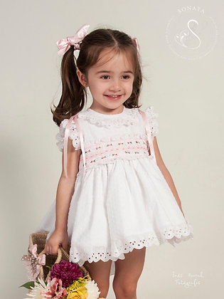 Sonata -  Smock White Puffball dress 322