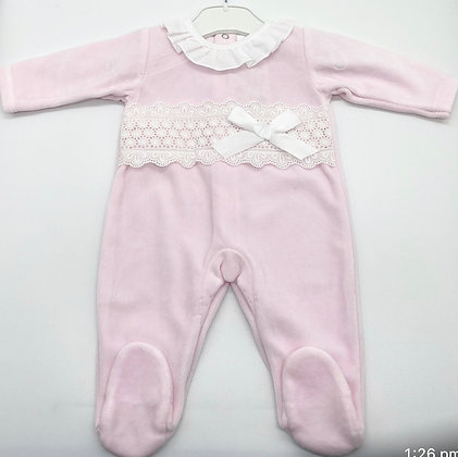 Velour Pink & White  lace Babygrow