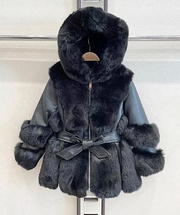 Girls Coat faux Fur - BLACK