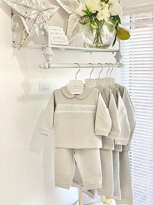 Baby Boys Smocked Tracksuit / Loungewear / Pj's - GREY