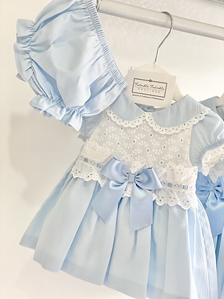Dress Set- WHITE LACE /BLUE