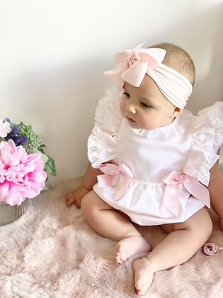 Wee Me - Baby Girls Frill Pink Romper