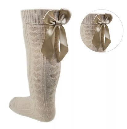 Bow knee high socks - CAMEL