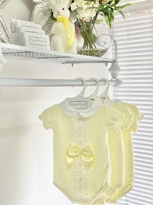 Baby Girls Ribbon Slot Bow Romper - LEMON