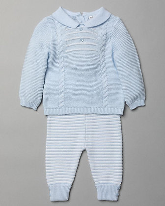 Boys Cable and stripe design with button detail Knit set