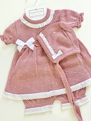 Baby Girls Knit 3 Piece Dress Set - DUSKY PINK