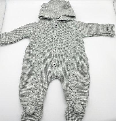 Copy of Baby Boys Knitted Pram Suit with Pom Pom Hood- GREY