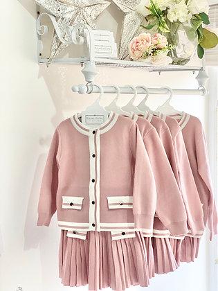 Girls Chanel inspired Girl Knit Suit Set - Dusky Pink
