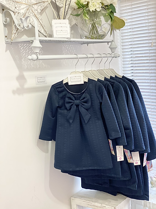 Girls Bow Dress 2y-12y - NAVY
