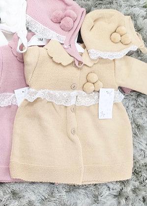 Girls Pom Pom Knit Coat & Bonnet - CAMEL
