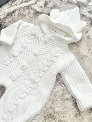 Unisex knitted Baby Coat All in One - WHITE