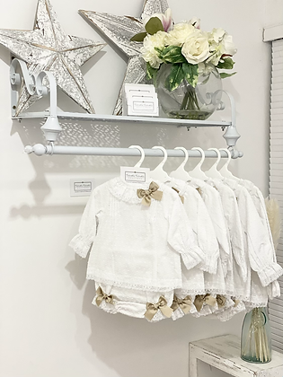 Baby Girls White Set with Lace & Camel Bows