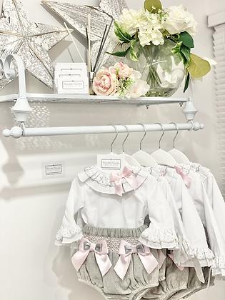 Baby Girls Grey & Pink  Smock jam pant & Shirt Set