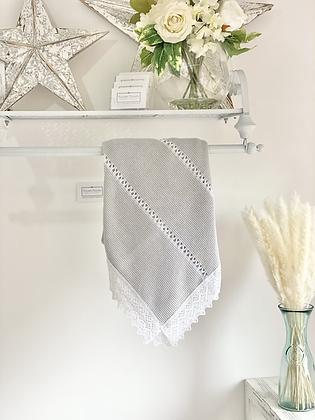 Baby Spanish Lace Trim Shawl/Blanket - GREY