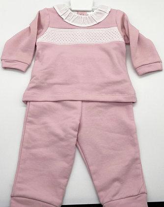 Baby Girls Smocked Tracksuit / Loungewear/ Pj's - DUSKY PINK