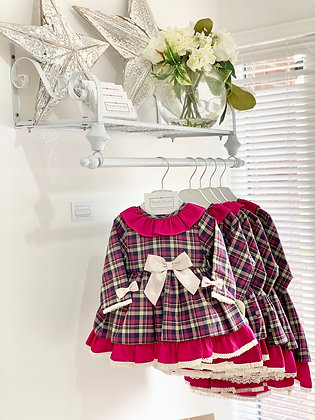Girls Wine Red Check Dress With Camel Bow Detail
