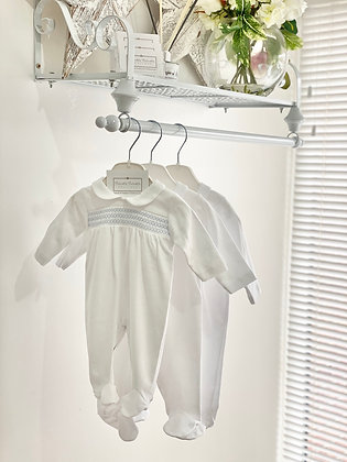Baby Boys Smock white Babygrow with Blue detail