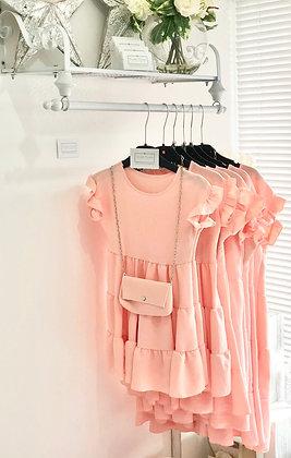 Girls Dress & Matching Bag  4-14yrs - BLUSH PINK