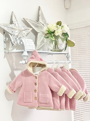 Baby Girls Dusky pink Knit Coat with wooly padding