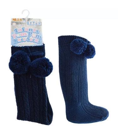 Baby Boys Pom Pom Socks - NAVY