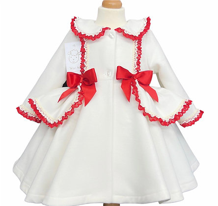 Wee me - Winter Coat White with Red Details