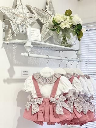 Girls Floral & Dusky Pink Skirted Bloomer set