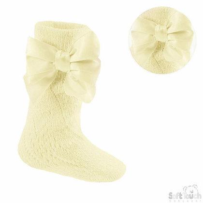 Open Knit Knee high Bow socks - Soft Lemon