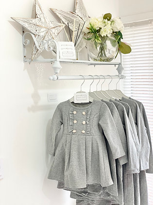 Girls silver Button Dress 1y-12y - GREY