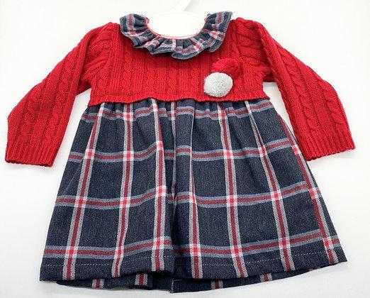 Girls Red & Navy Pom Pom Dress