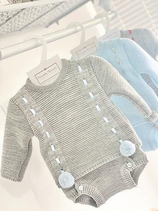 Boys Knit Set Grey with Blue Pom Pom