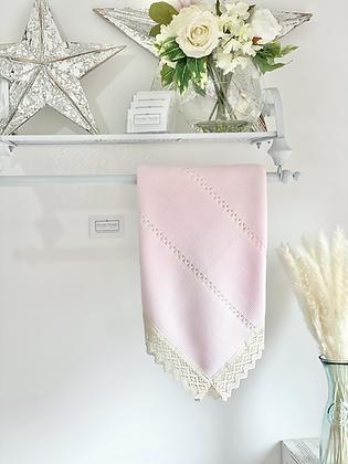 Baby Spanish Lace Trim Shawl/Blanket - PINK