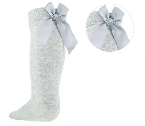 Bow knee high socks - GREY