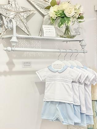 Baby Boy's White & Blue Smock Shorts Set