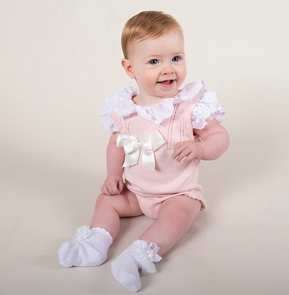 Caramelo - Baby Girls  2 Piece  knit romper  - PINK