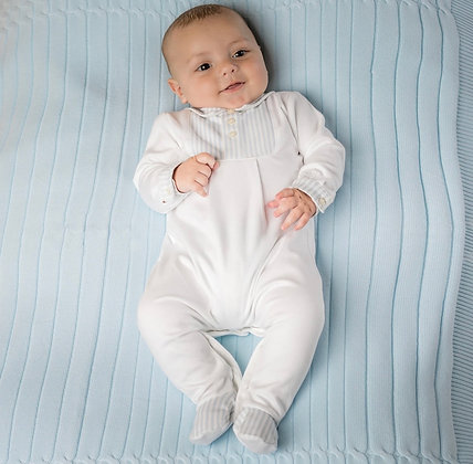 Emile et Rose - Wiley White and Blue Striped Babygrow