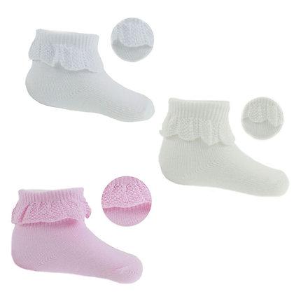 Baby Girls Ankle  Socks 3PK - White / Cream / Pink