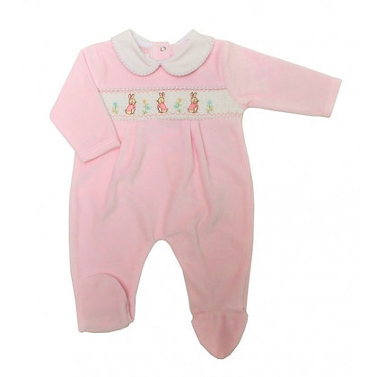 Girls Velour Flopsy Rabbit Embroidered Sleepsuit - Pink