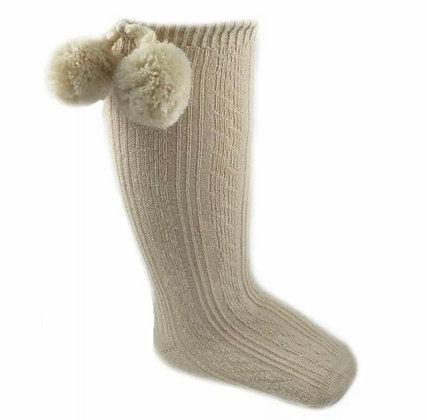 Baby Boys Pom Pom Socks - CAMEL